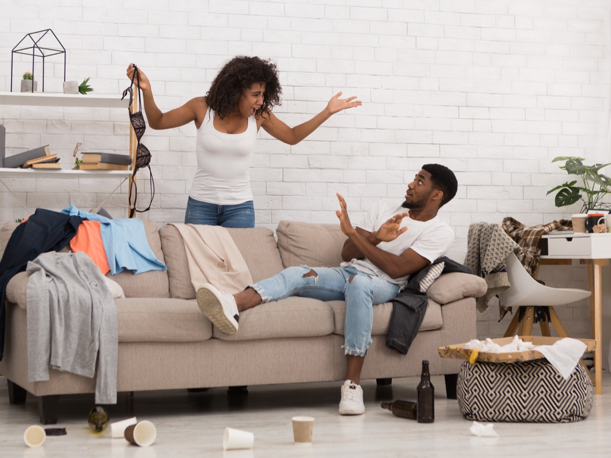 Couple arguing about mess