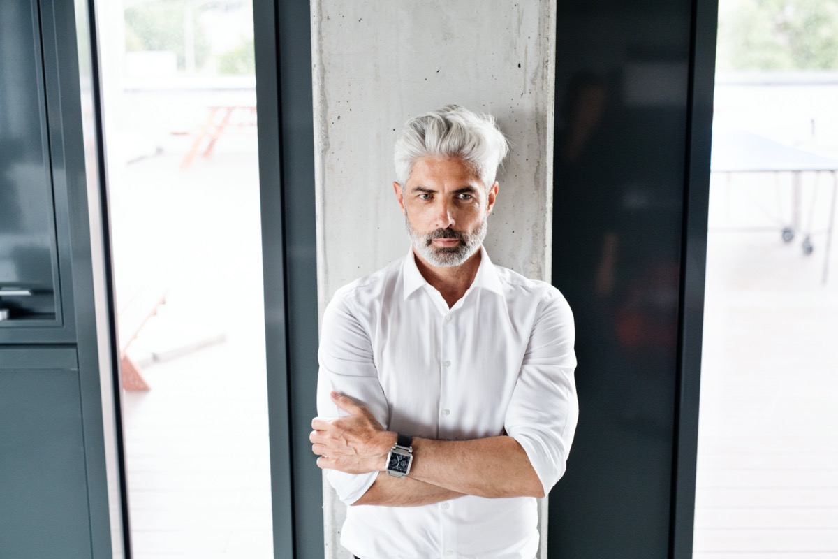 stylish older man with gray hair