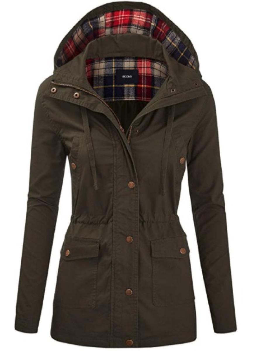 A hooded anorak coat