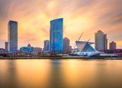 The skyline of Milwaukee, Wisconsin at sunset.
