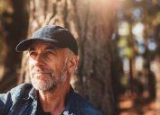 Older man sitting outside