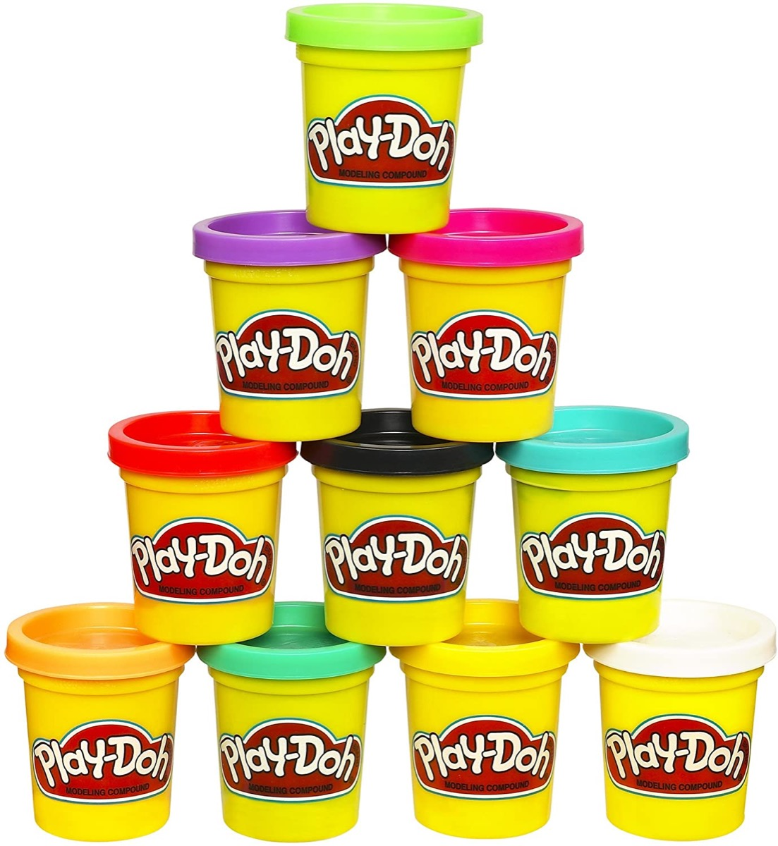 10-pack of play-doh stacked in pyramid