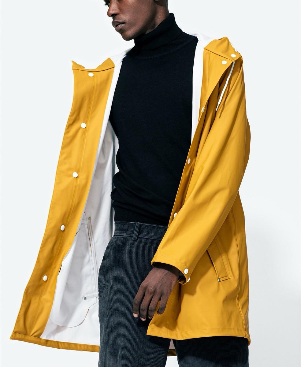 A yellow rain jacket