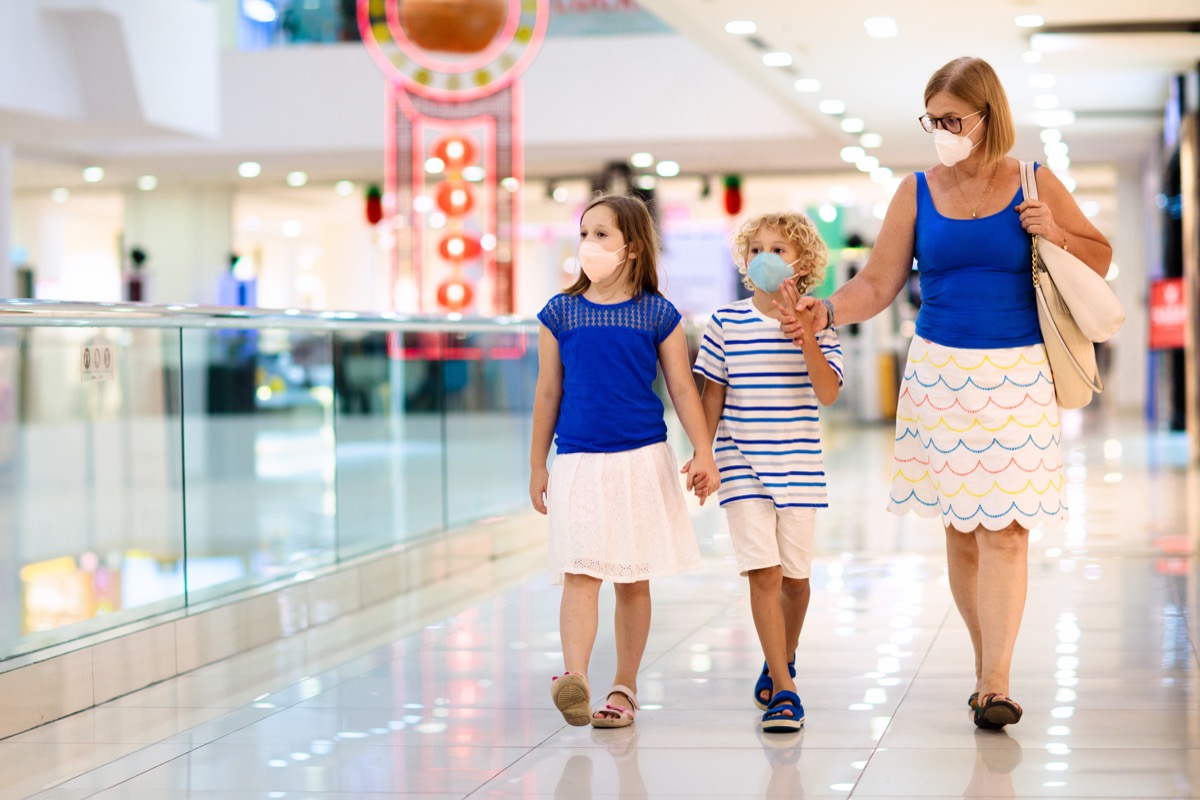 Mother and daughters shopping wearing face masks