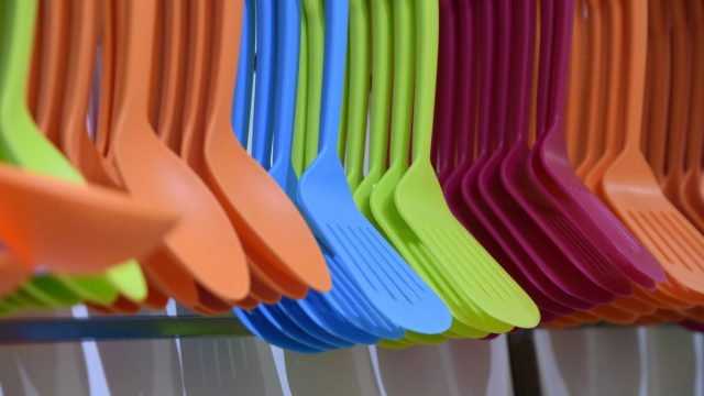 Colored Plastic spoons and spatulas for sale in store
