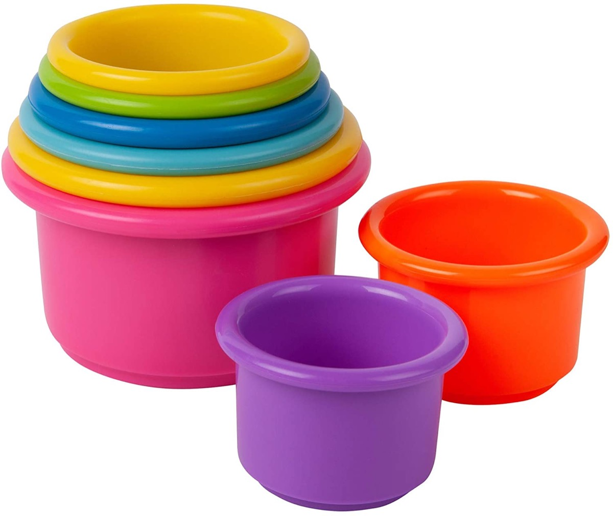 multicolored set of stacking cups
