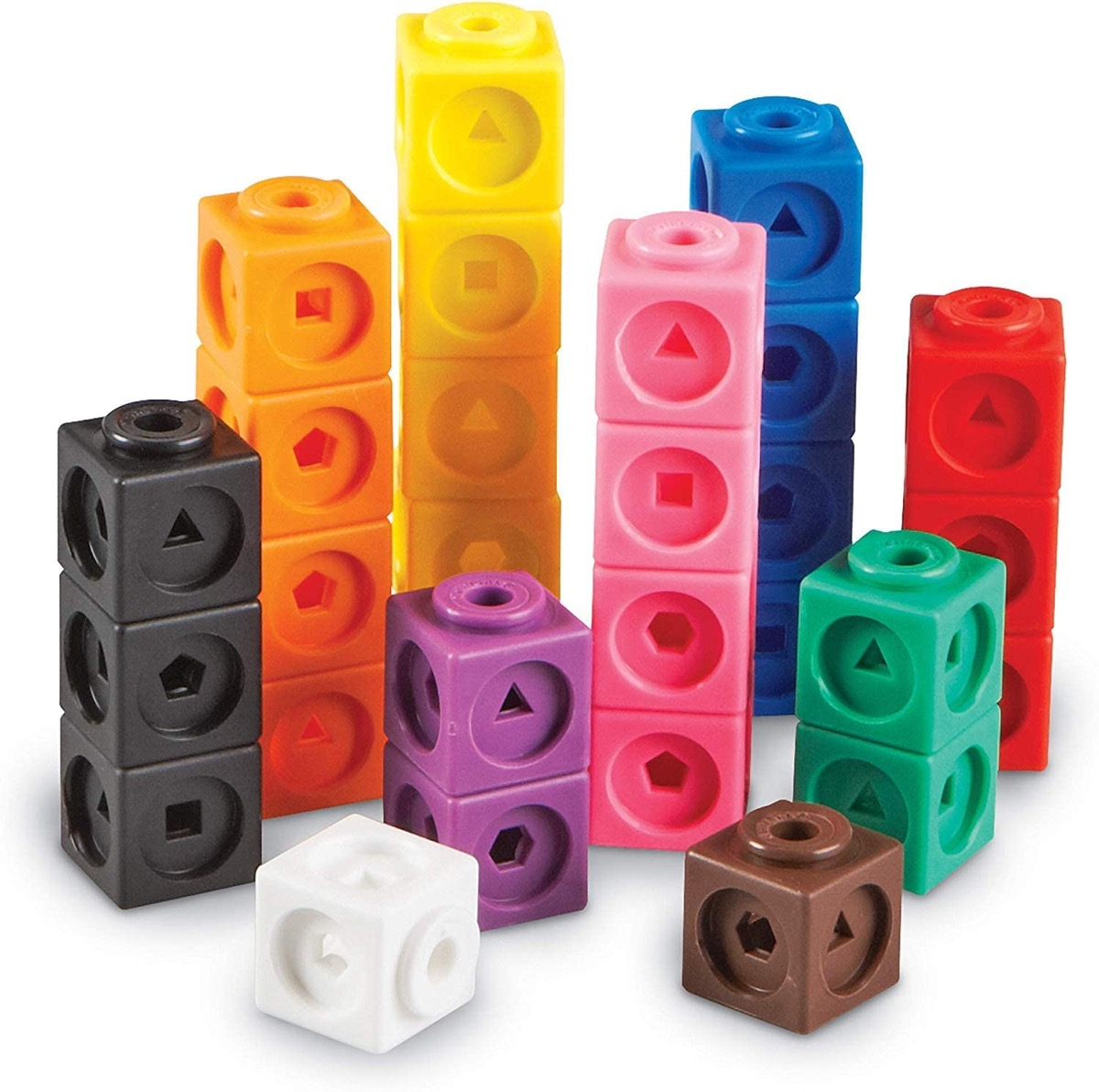 set of colorful plastic stacking cubes