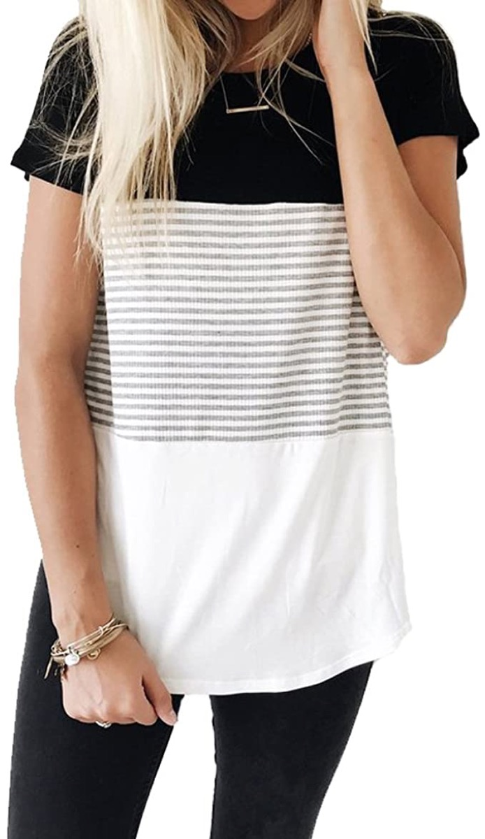 A women's striped and multi-patterned t-shirt
