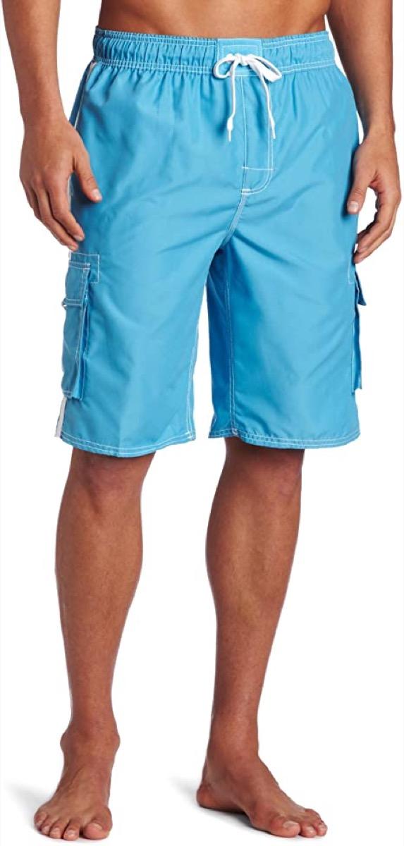 A pair of light blue men's swim trunks