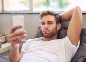 Man flirting online dating
