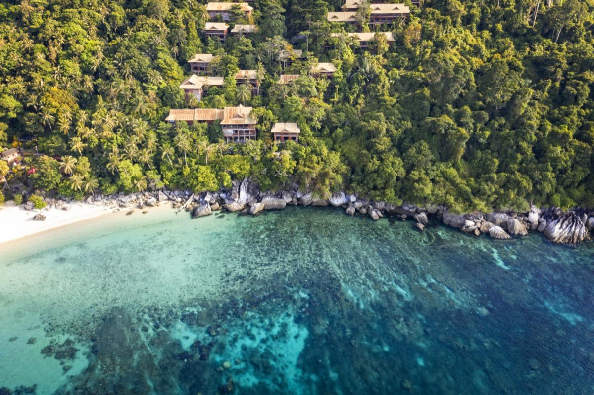 Aerial View of Tioman Island coastline