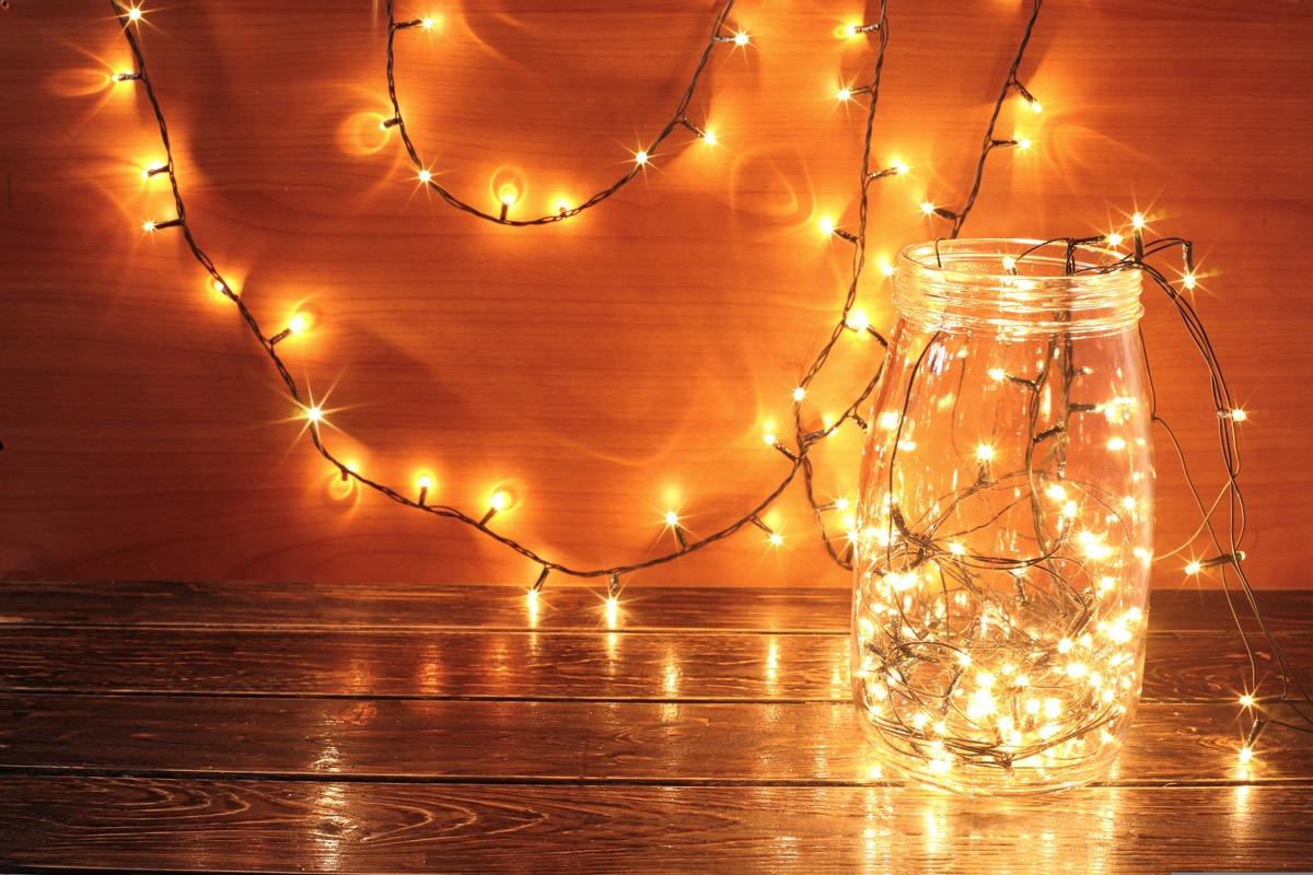 glass jar full of twinkly lights