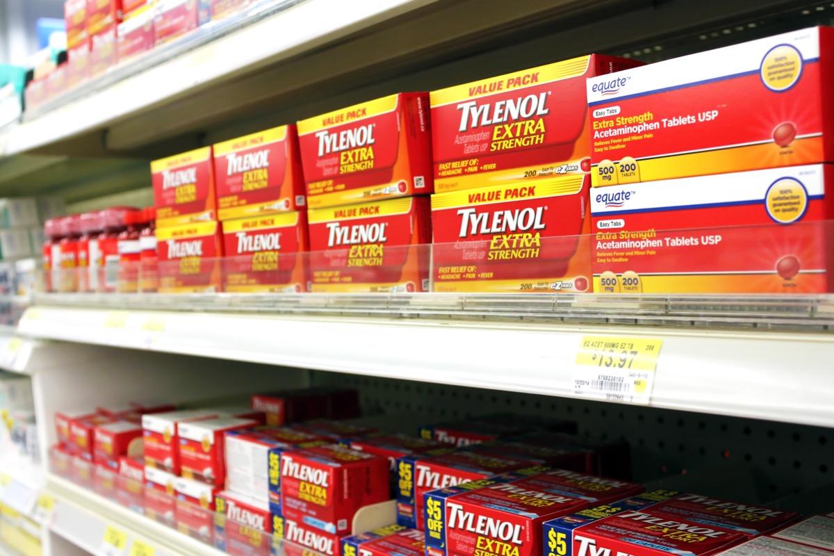 Tylenol on shelf in store