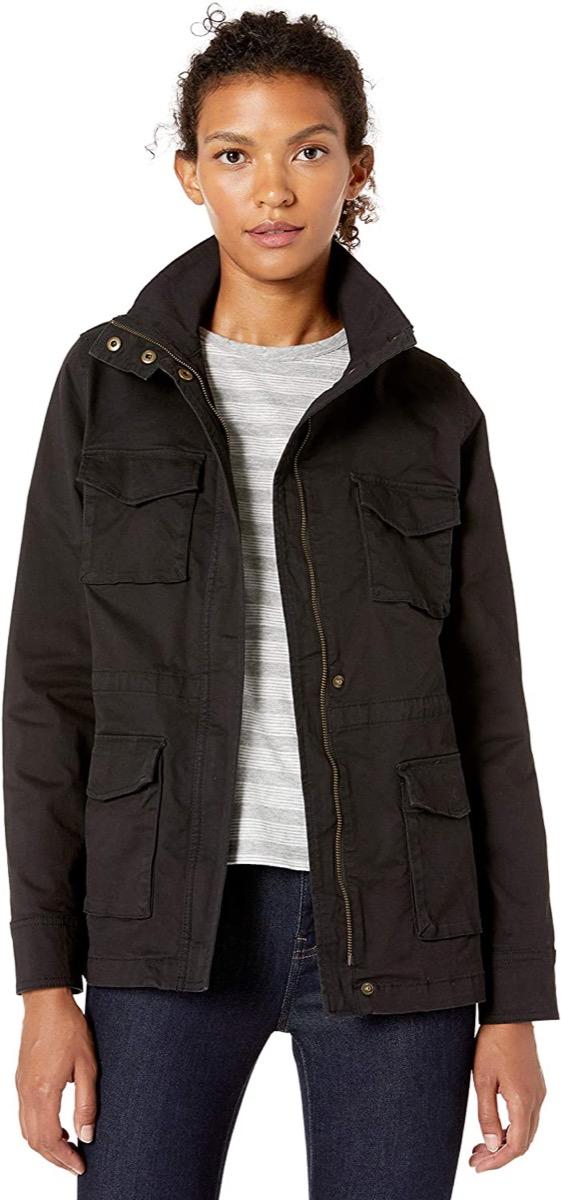 A dark canvas utility jacket