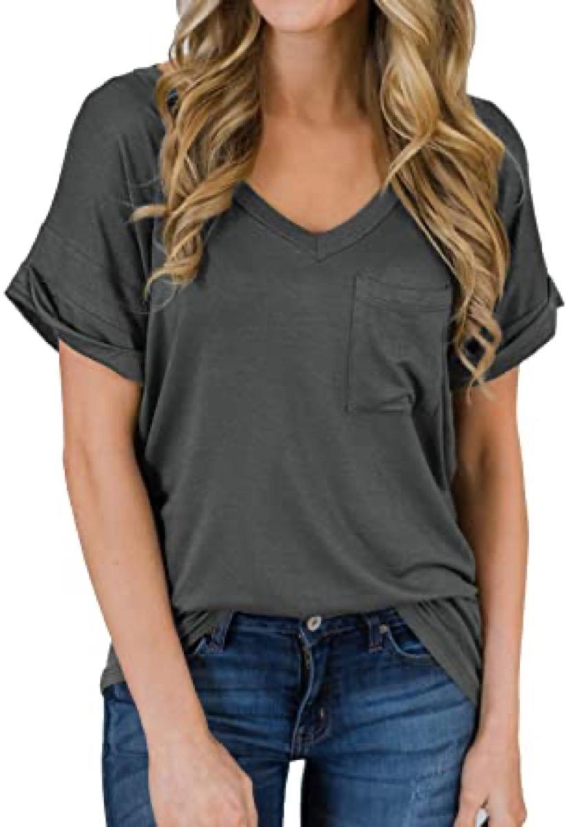 A dark gray women's v neck shirt