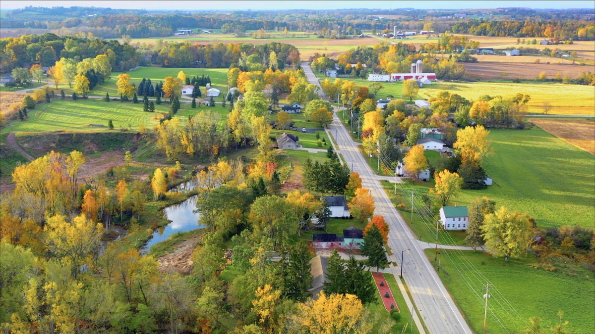 Scenic Small Town Nestled in Autumn Valley, Beautiful Rural Wisconsin Fall colors.