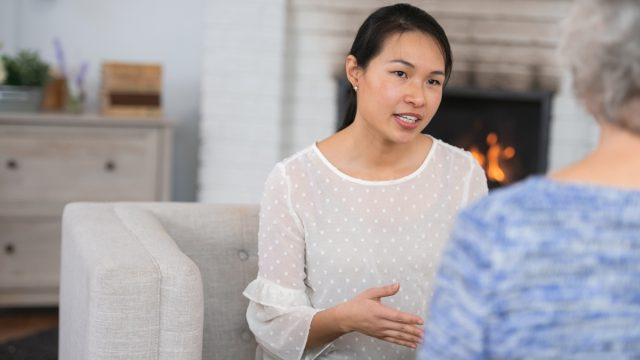 A woman talks to her therapist. She is slightly frustrated because she feels like she isn't getting better. She is talking about coping mechanisms for her anxiety.