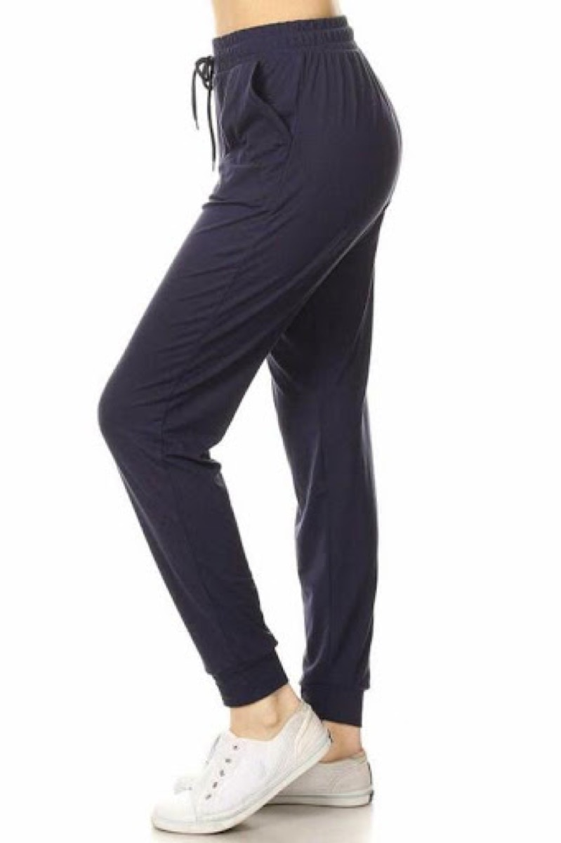 A pair of women's black jogger sweatpants