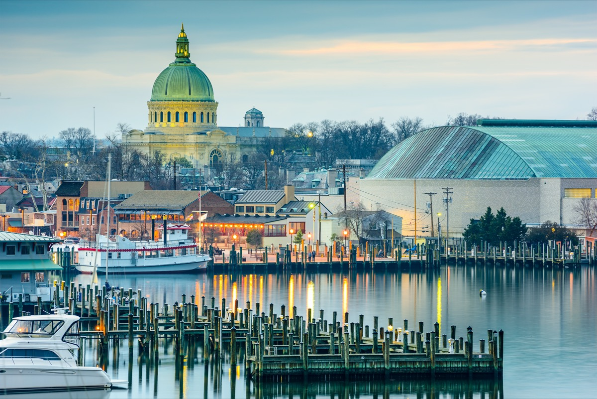 city skyline and Chesapeake Bay in Annapolis, Maryland in the afternoon