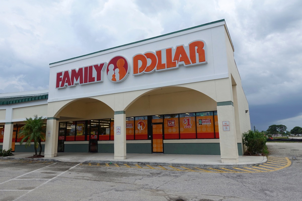 Strip Mall with Family Dollar store