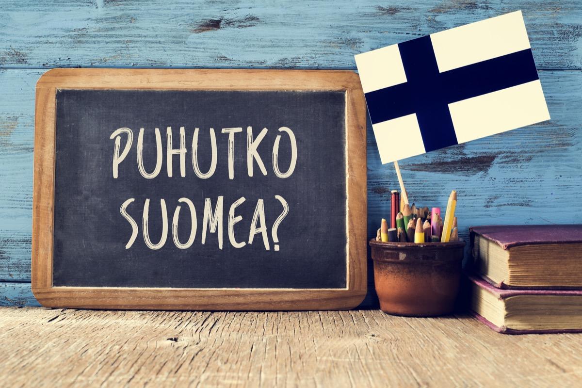 """""""Do you speak Finnish"""" in Finnish on chalkboard"""
