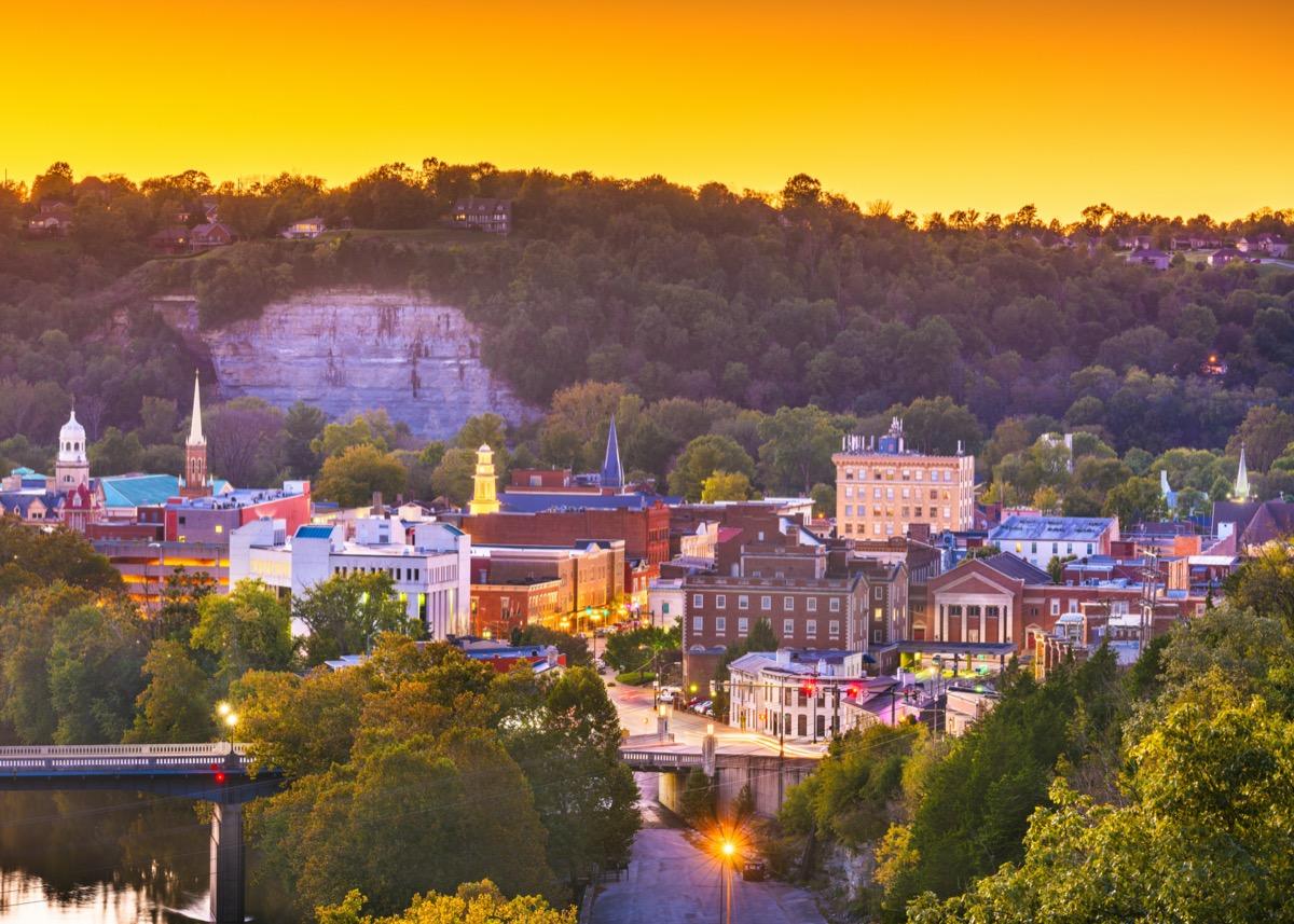 cityscape photo of Frankfort, Kentucky at dusk