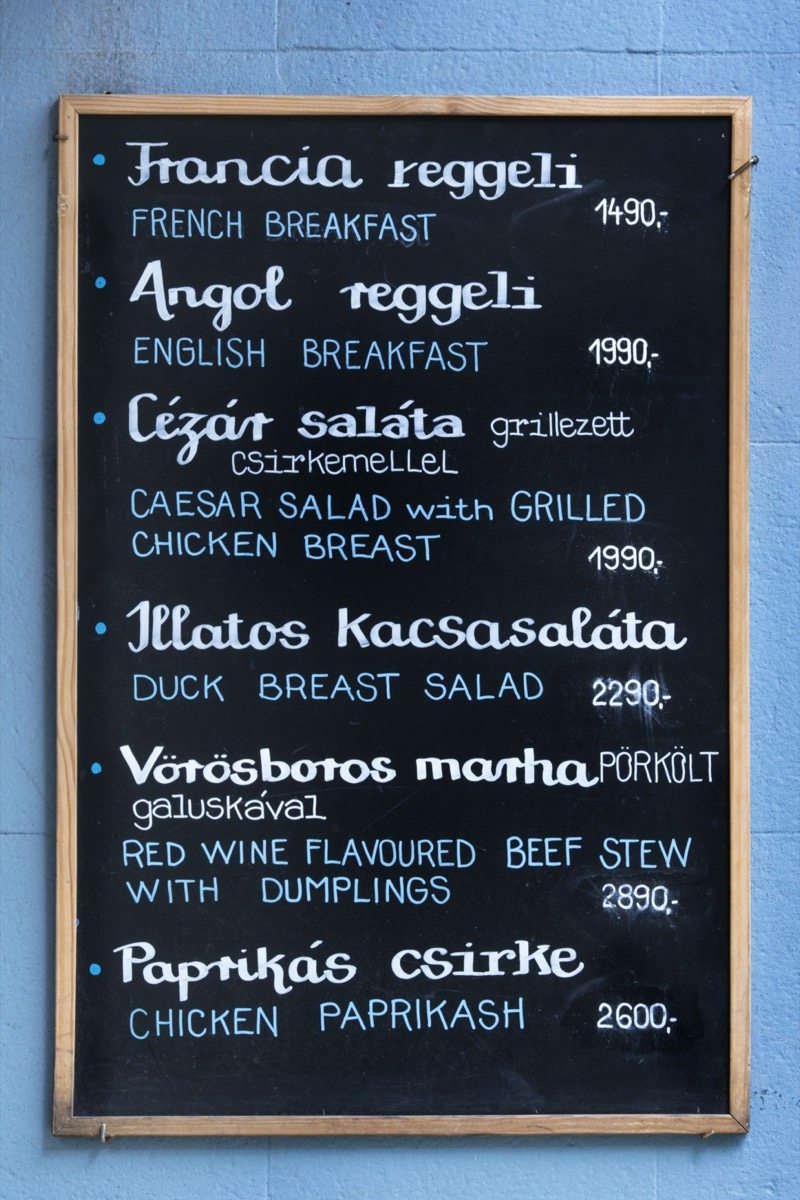 Hungarian menu board