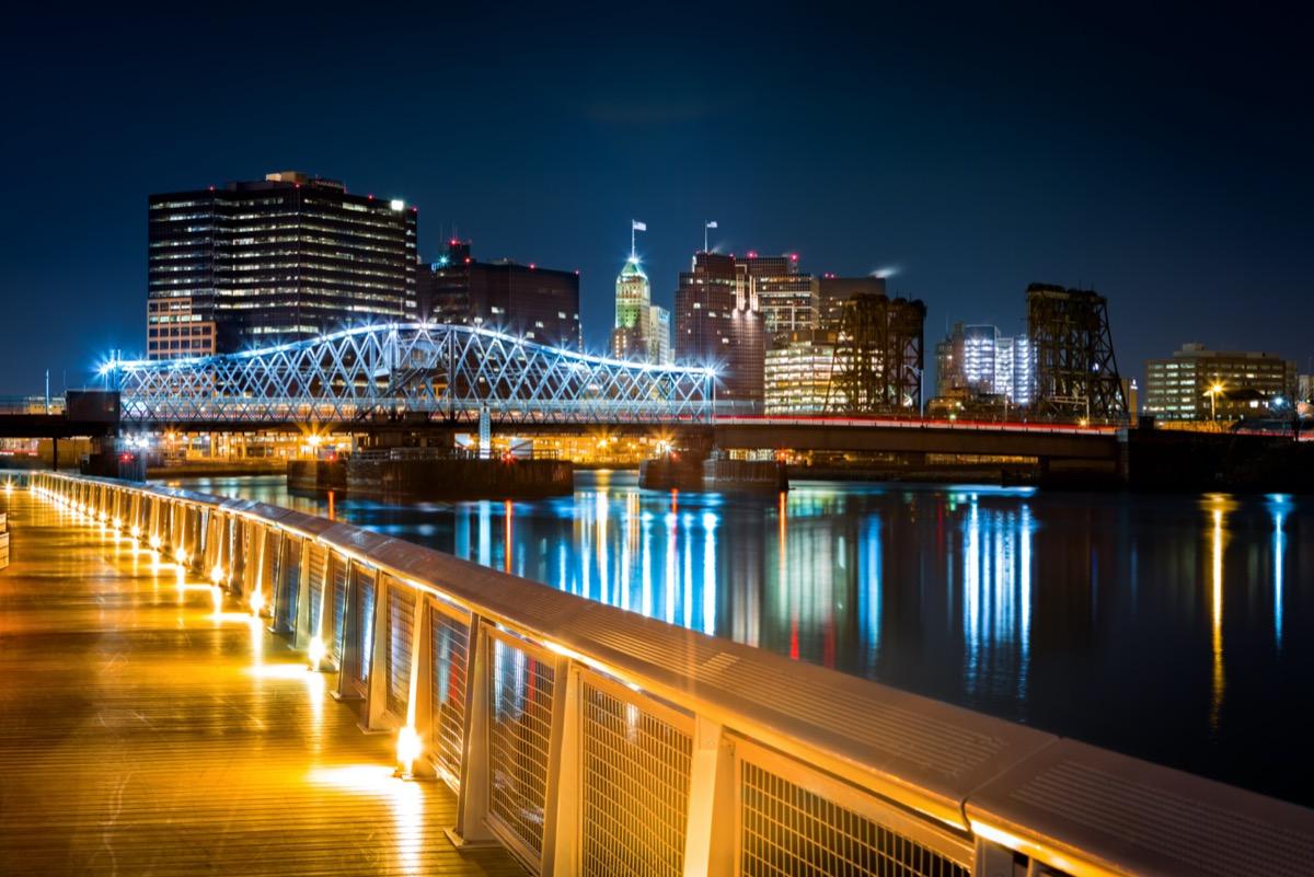 city skyline and the Passaic River in Newark, New Jersey