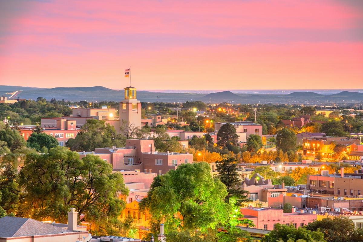 cityscape photo of Santa Fe, New Mexico at dusk