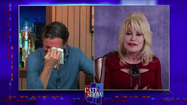 Dolly Parton and Stephen Colbert on the Late Show