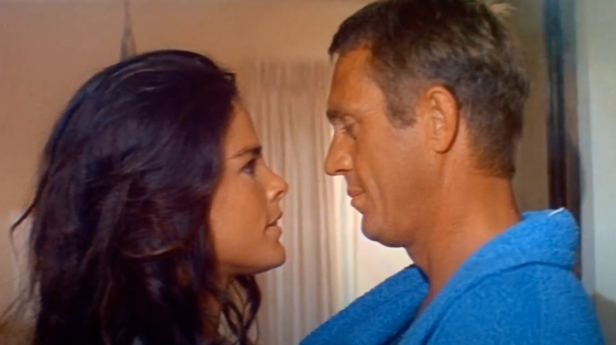 """ali macgraw and steve mcqueen about to kiss in """"the getaway"""""""