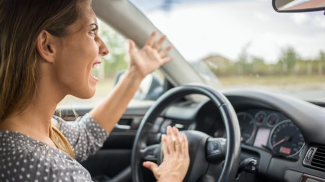 angry white woman driving car