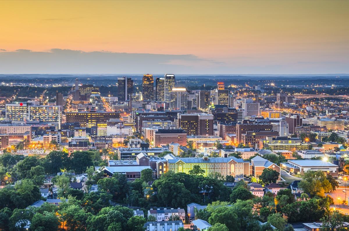 cityscape photo of Birmingham, Alabama at dusk