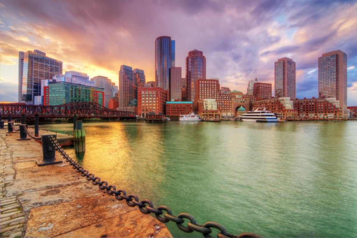 the Boston Harbor in Boston, Massachusetts at dusk