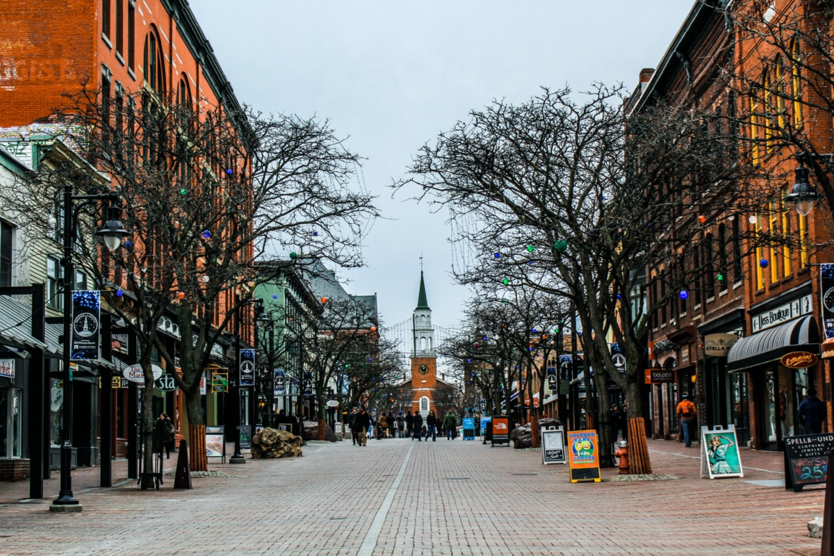Church Street in Burlington, Vermont in the afternoon