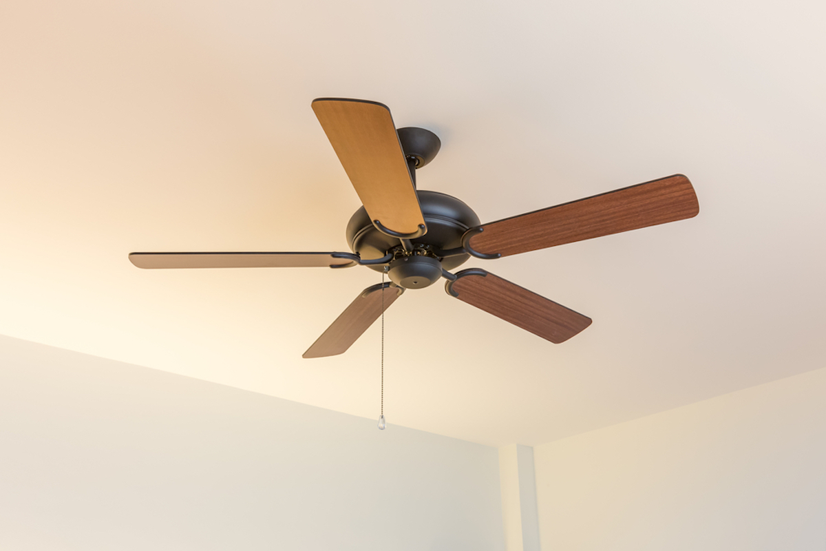 wooden ceiling fan on bright white ceiling