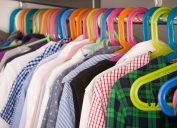 closeup of colorful hangers with children's clothes
