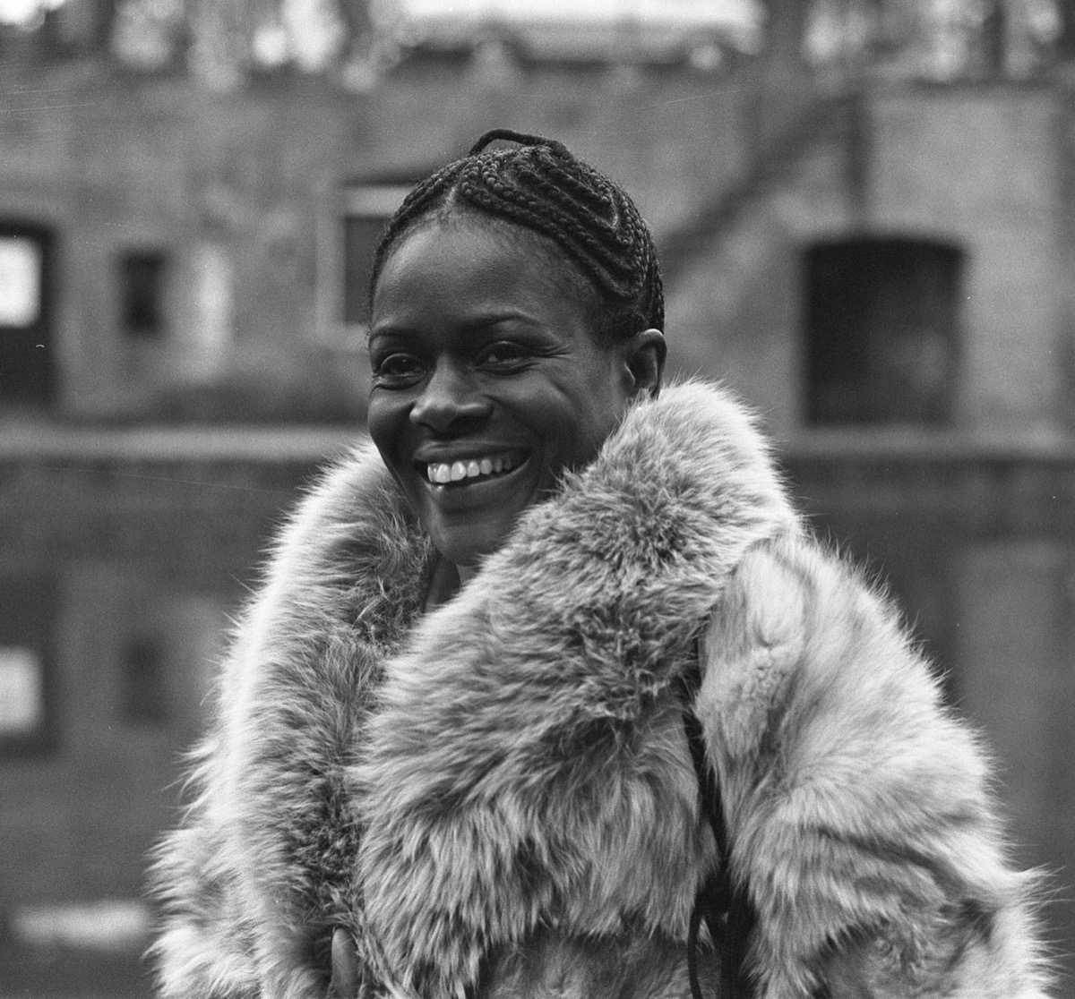 cicely tyson in fur coat and cornrows