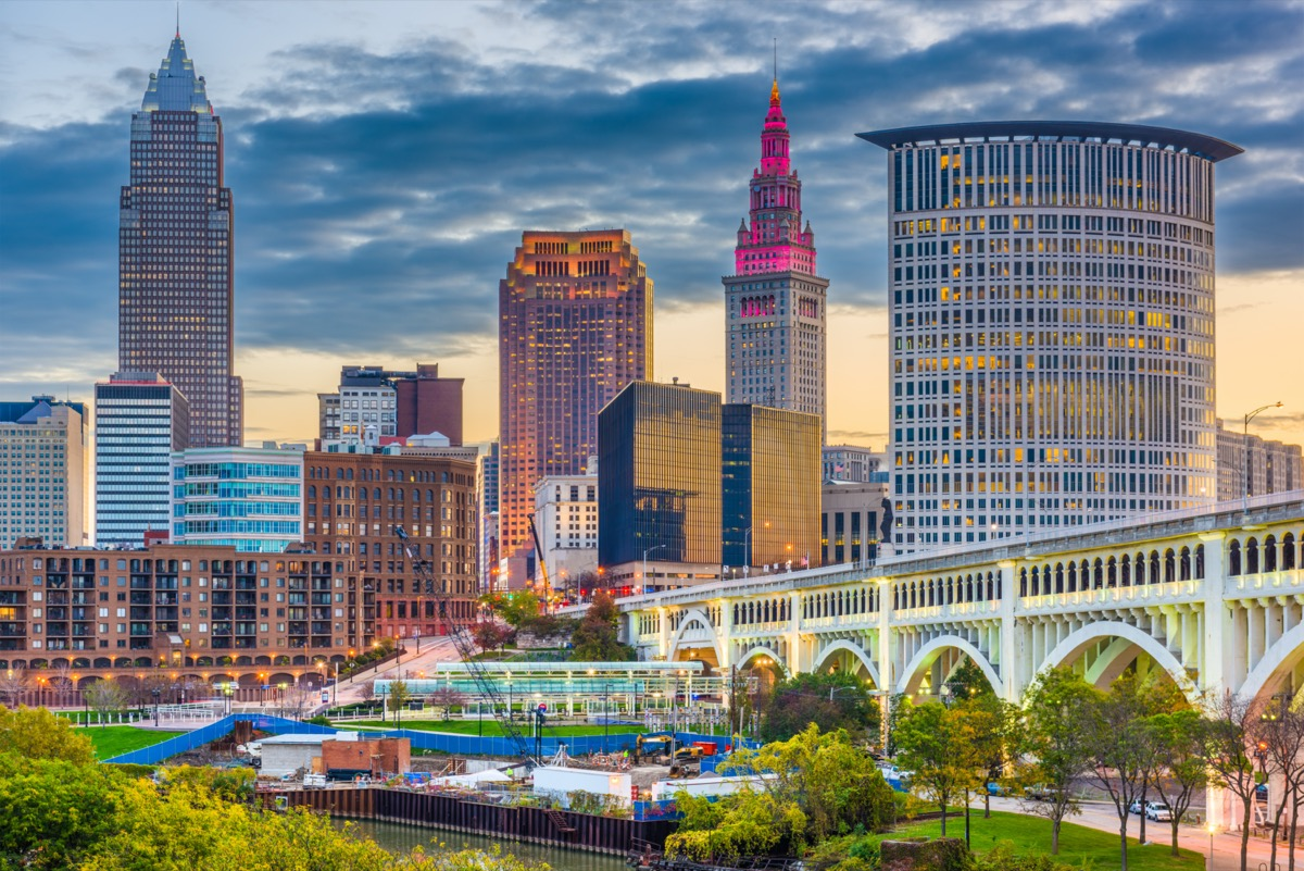 city skyline on the Cuyahoga River in Cleveland, Ohio at dusk