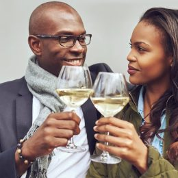 Couple drinking wine on a date together