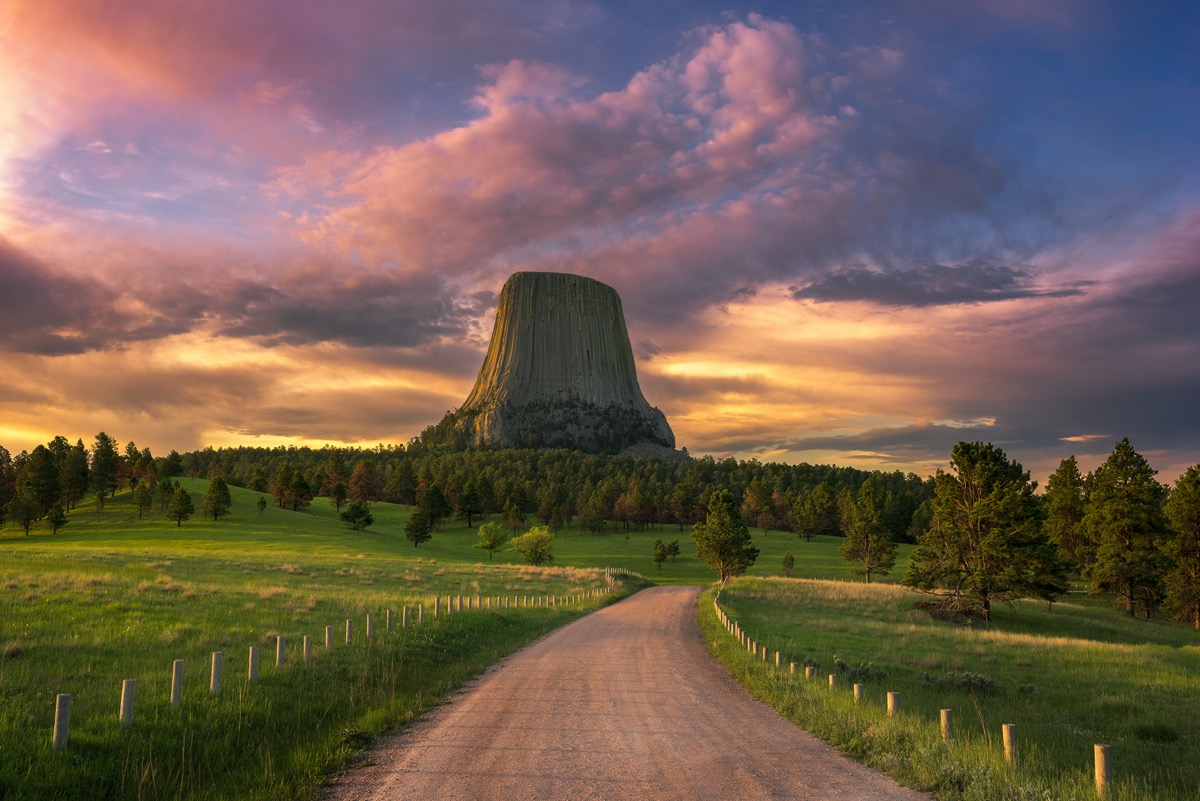 landscape photo of the Devils Tower in Crook County, Wyoming at sunrise