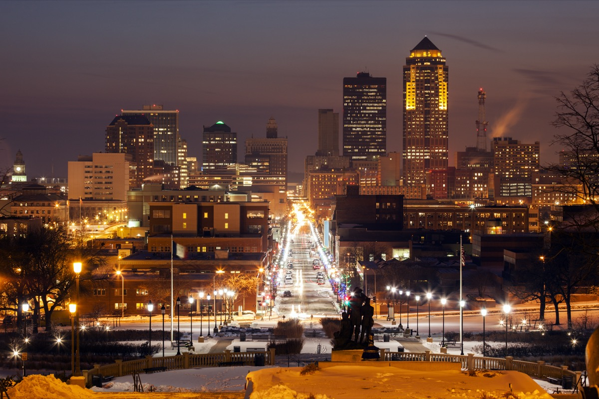 cityscape photo of Des Moines, Iowa at sunset
