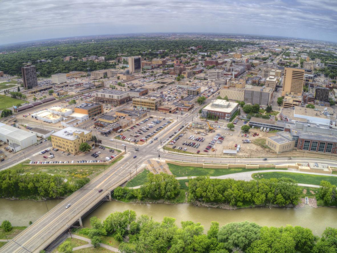 An aerial view of downtown Fargo, North Dakota