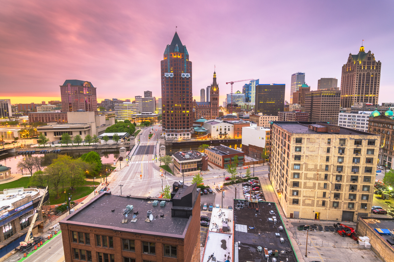 The skyline of Milwaukee, Wisconsin at sunset