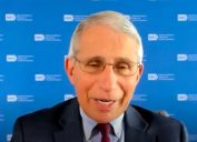 Dr. Anthony Fauci talking at a student forum for the College of the Holy Cross