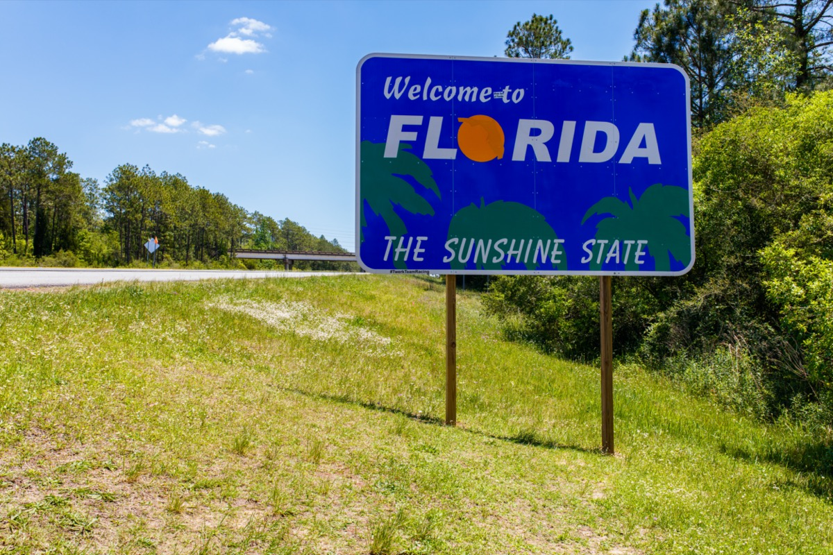 """a blue """"Welcome to Florida"""" sign within green grass and in front of trees off of the highway"""