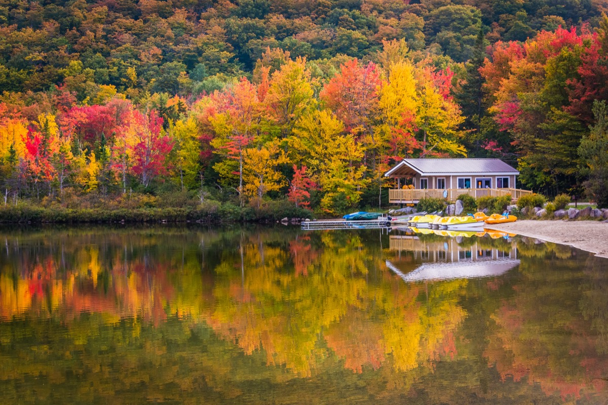 a townhouse next to trees, a lake, and canoes in Grafton County, New Hampshire