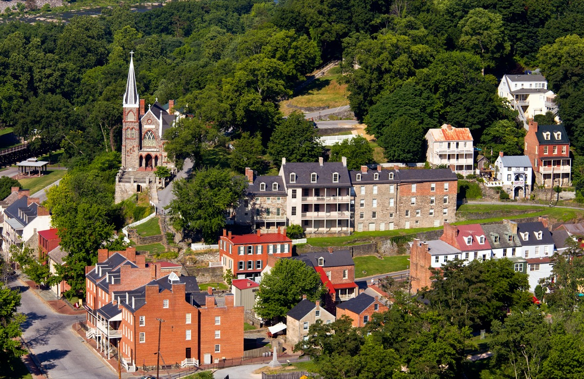 buildings and church in the town of Harper's Ferry, West Virginia