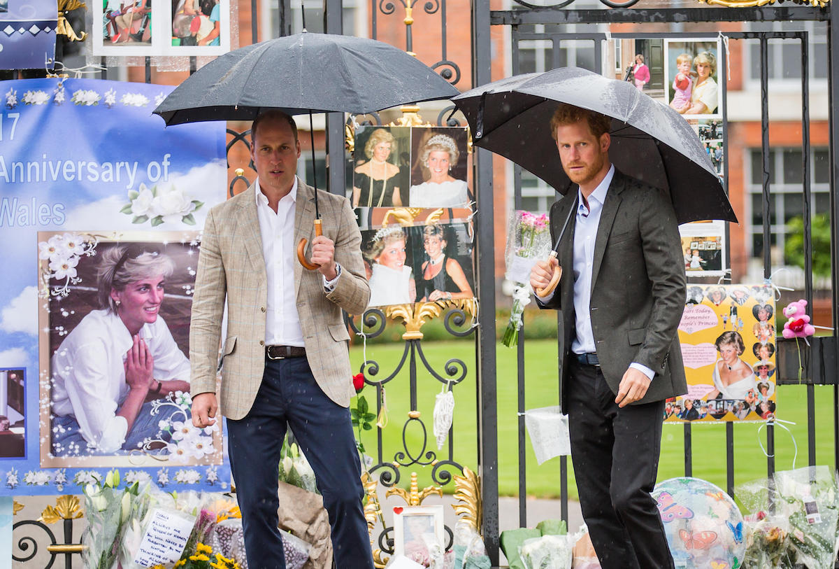 TRH Princes William and Harry paid tribute to their mother, Princess Diana, on the eve of the 20th anniversary of her death by viewing the floral tributes left at the gates of her former home, Kensington Palace. Wednesday 30th August 2017