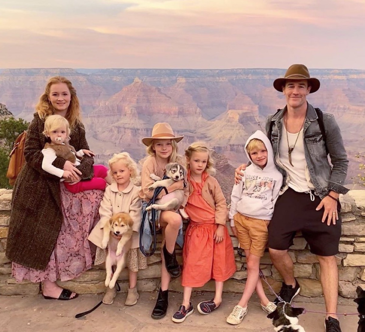 james van der beek with wife and five children and two dogs